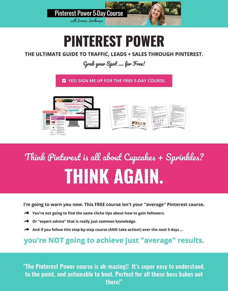 Example of great landing pages for a free opt-in, featuring free Pinterest course by Summer Tannhauser