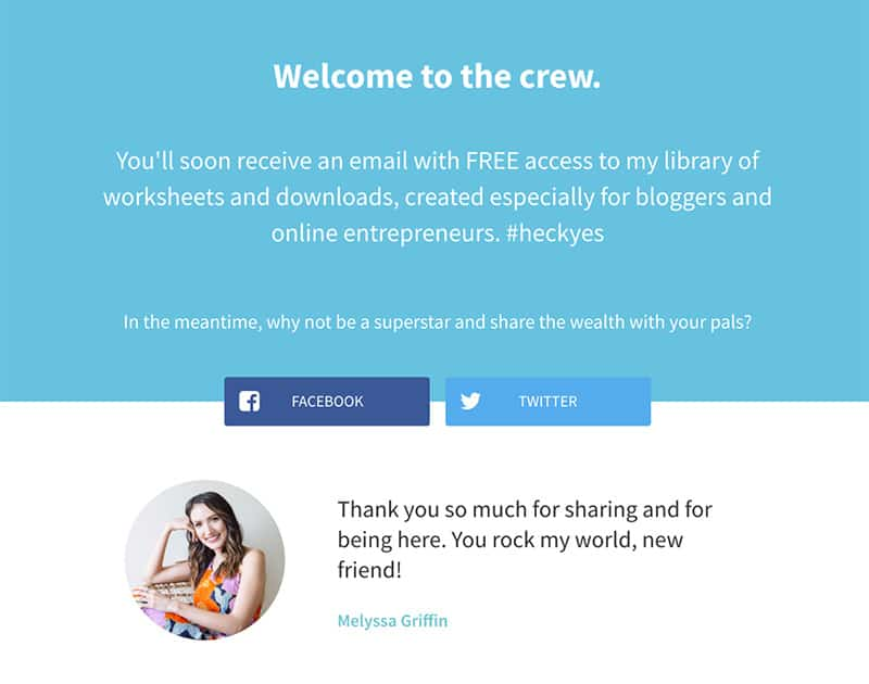 Examples of great thank you page by Melyssa Griffin