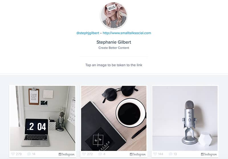 Example of how to use Link in profile in Instagram