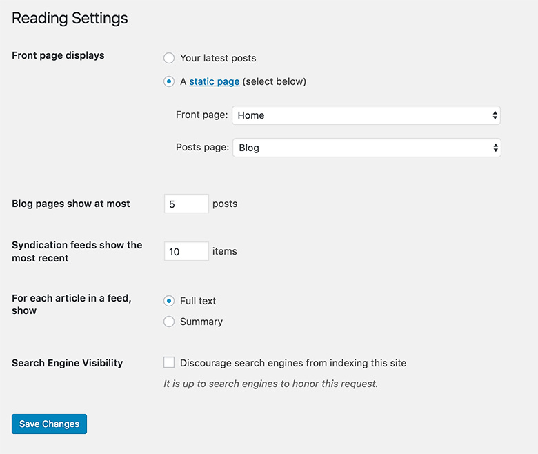 wordpress-reading-settings