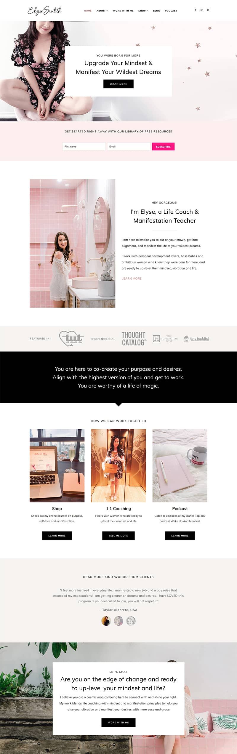Showcase Bluchic ChicServe WordPress theme for life coach