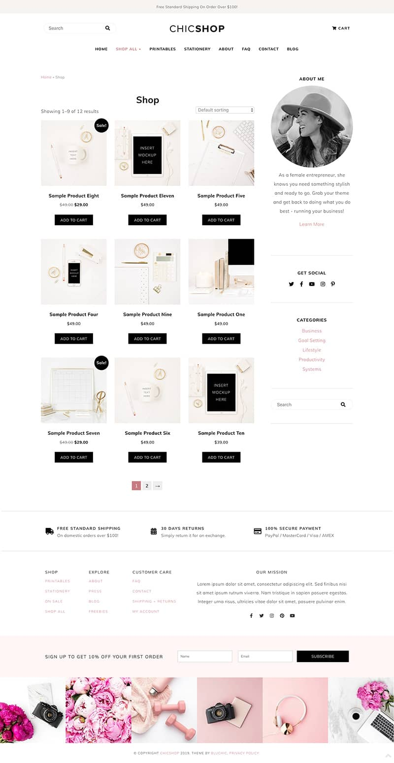 ChicShop shop page with content sidebar layout