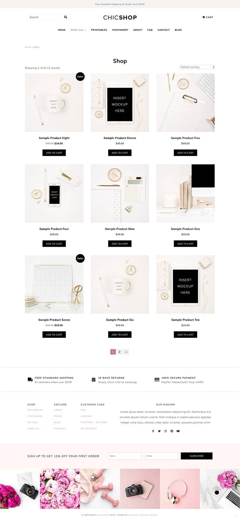 ChicShop shop page with full width layout