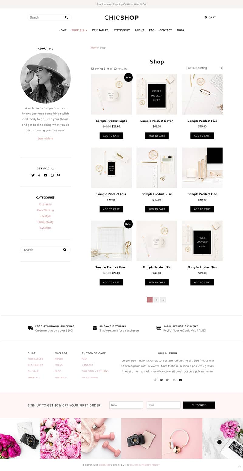 ChicShop shop page with sidebar content layout