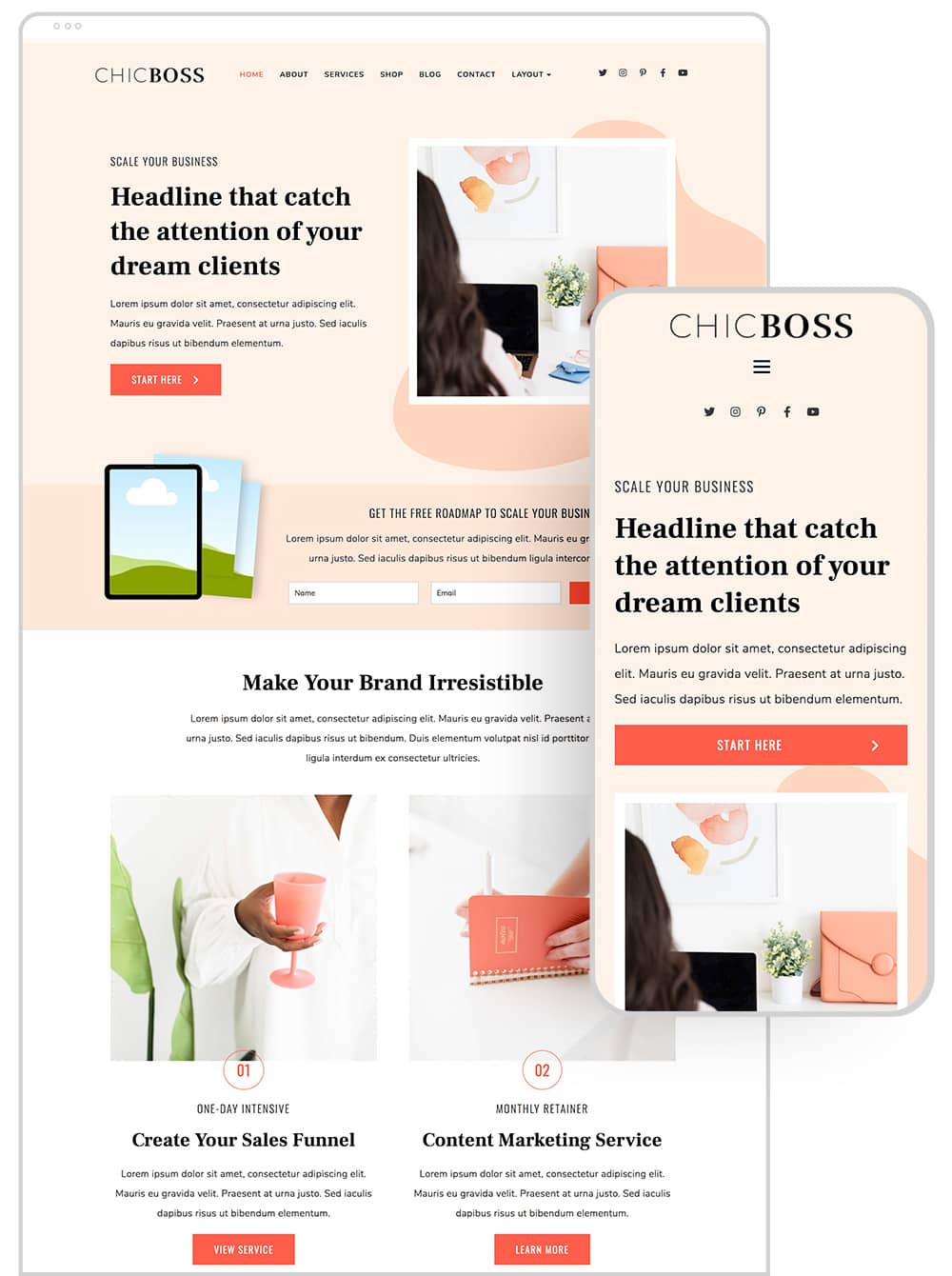 Home page design of ChicBoss digital product wordpress theme