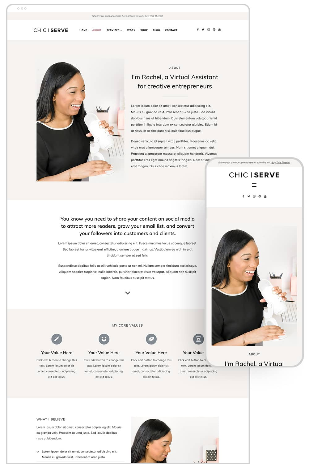 About page design of ChicServe WordPress Theme for Service-Based Entrepreneurs