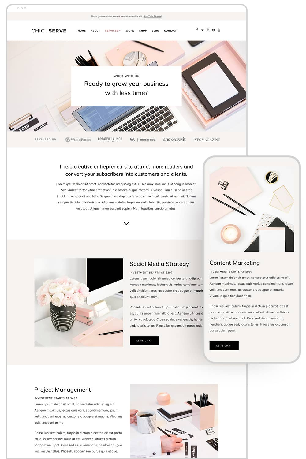 Service page design of ChicServe WordPress Theme for Service-Based Entrepreneurs