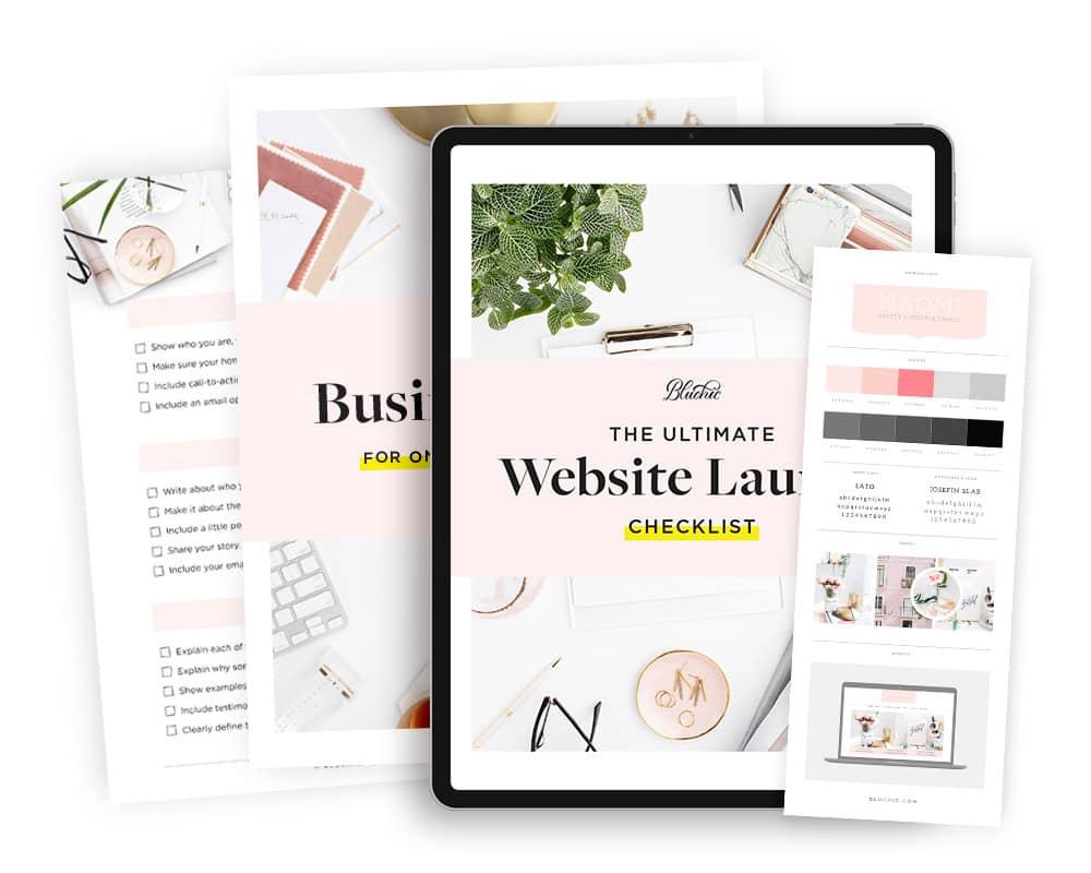 bonus website launch checklist when purchase Naomi pretty chic WordPress Theme