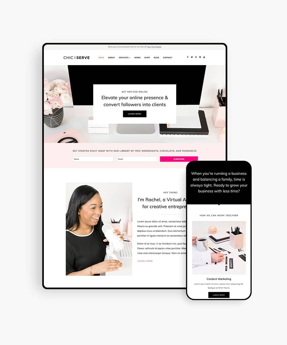 ChicServe WordPress Theme for Service-Based Entrepreneurs
