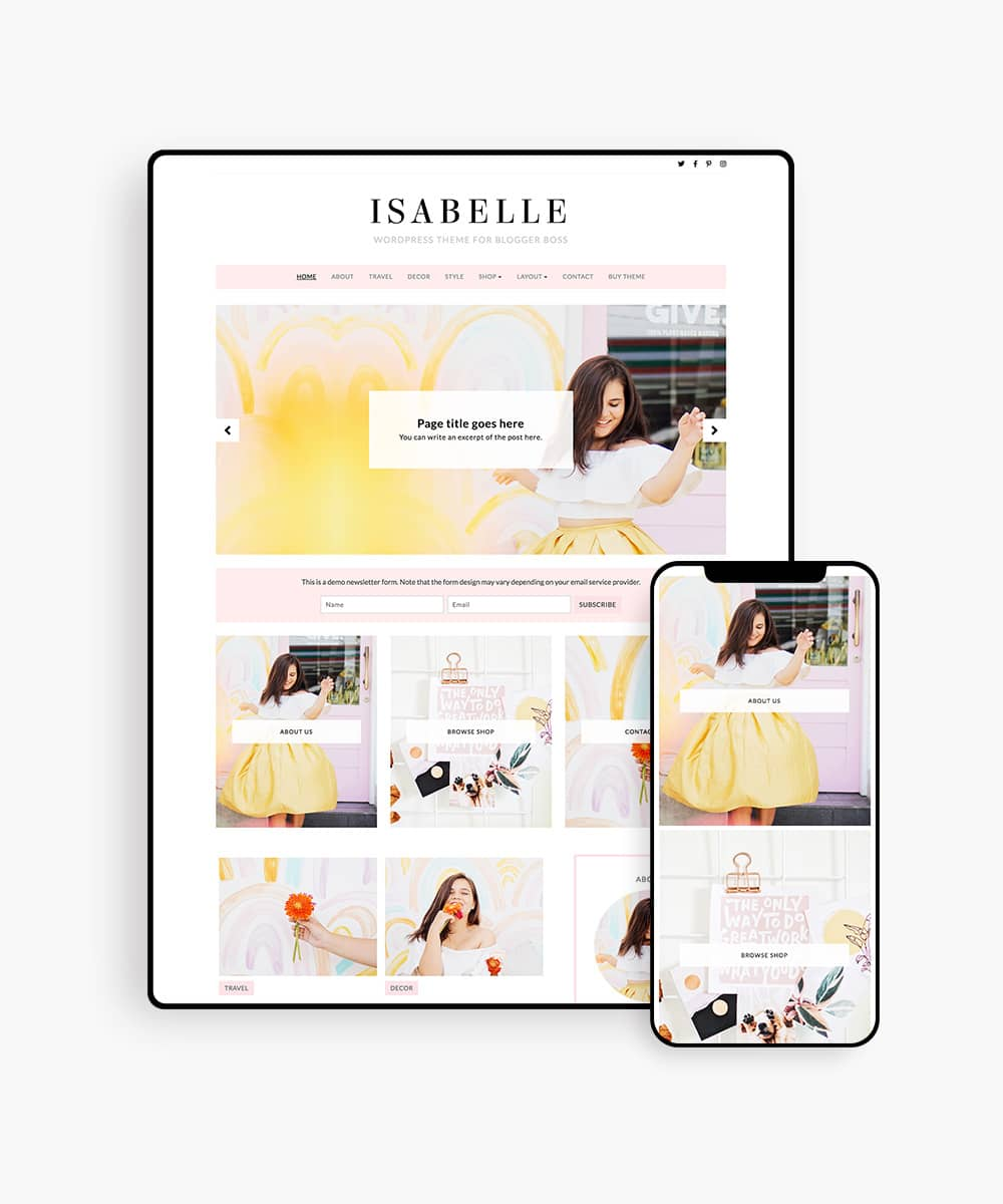 Isabelle feminine WordPress theme for stylish bloggers