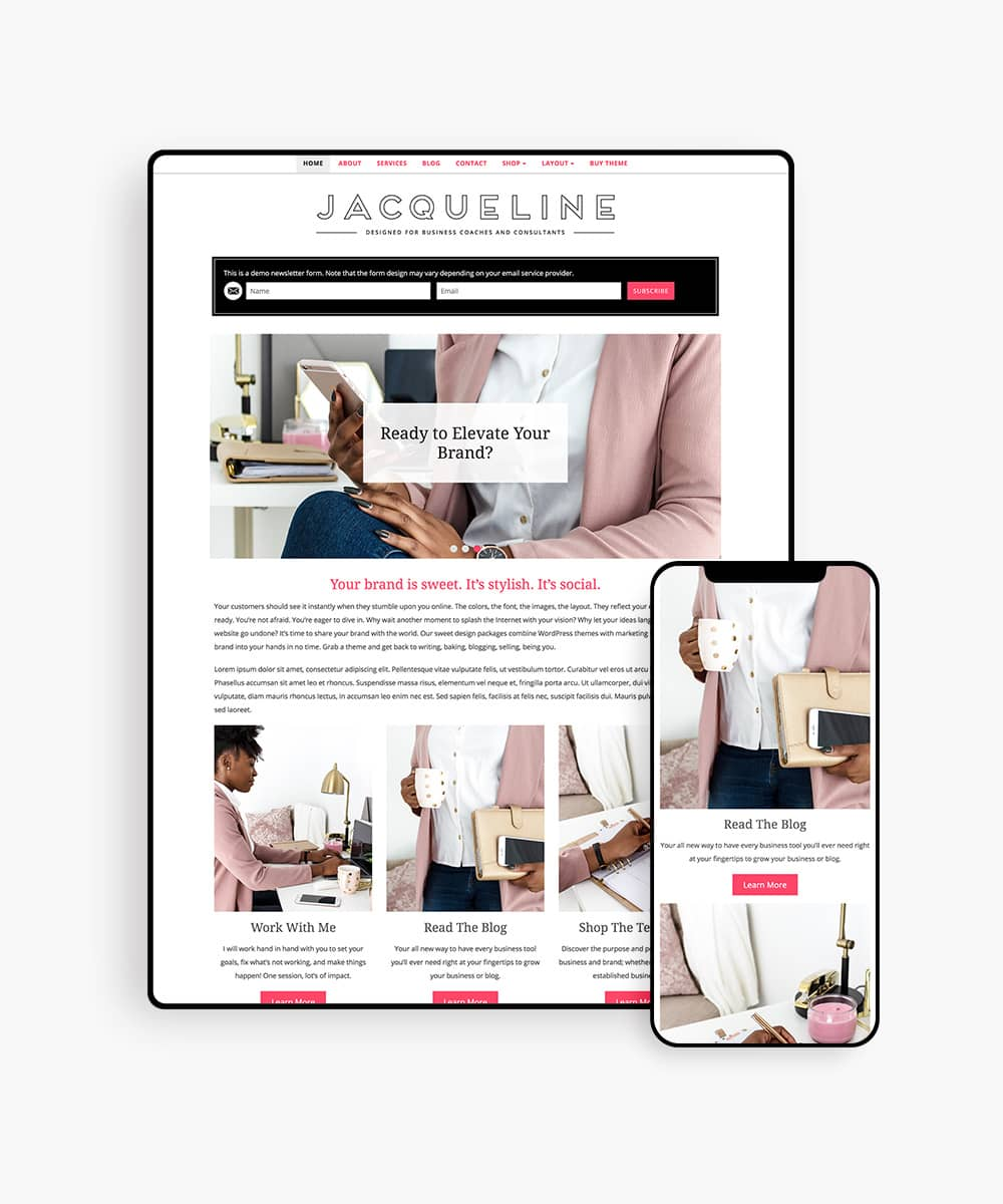 Jacqueline wordpress theme for life coaches and consultants