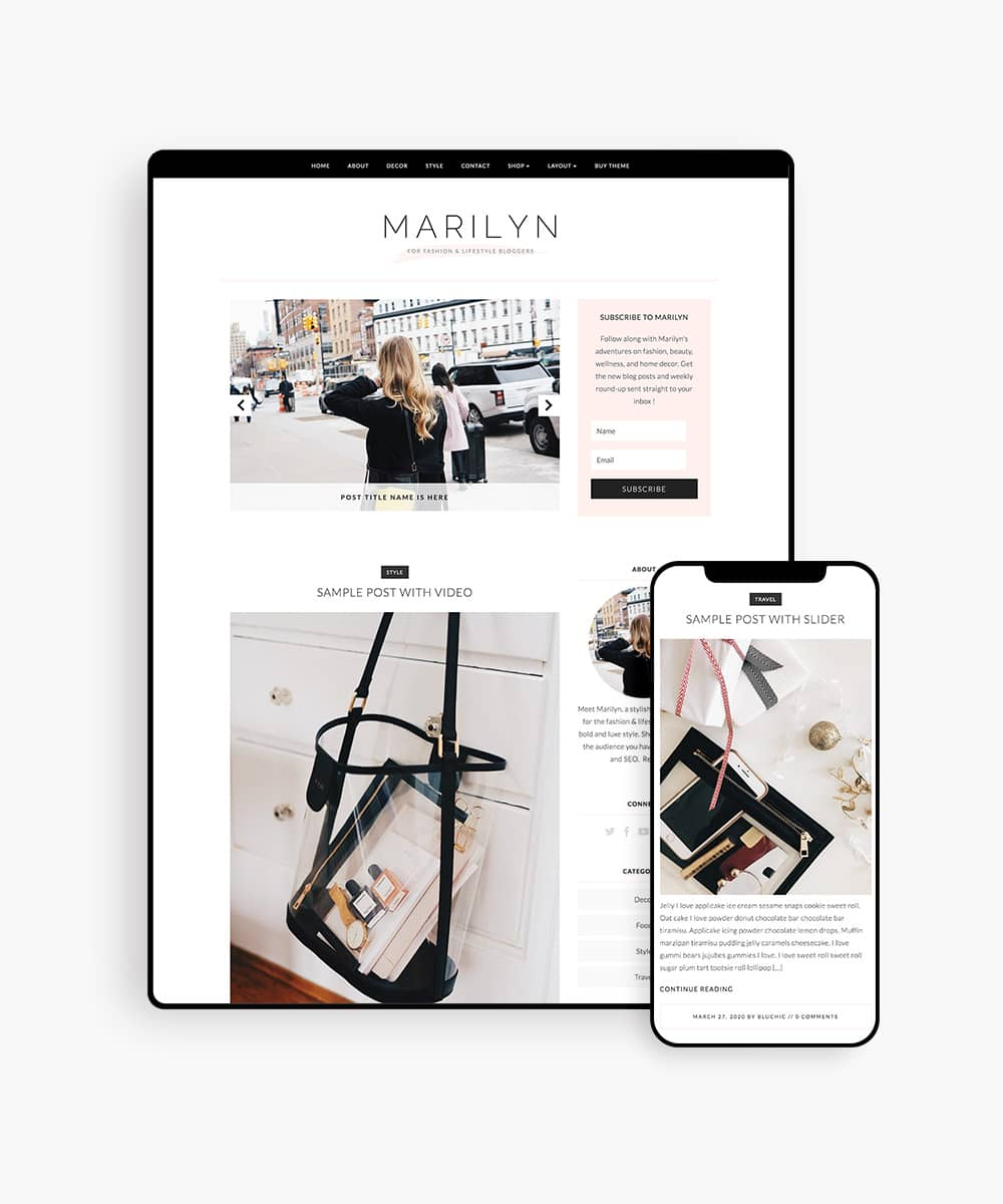 Marilyn fashion blog wordpress theme