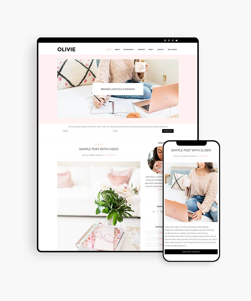 Olivie lifestyle blog wordpress theme