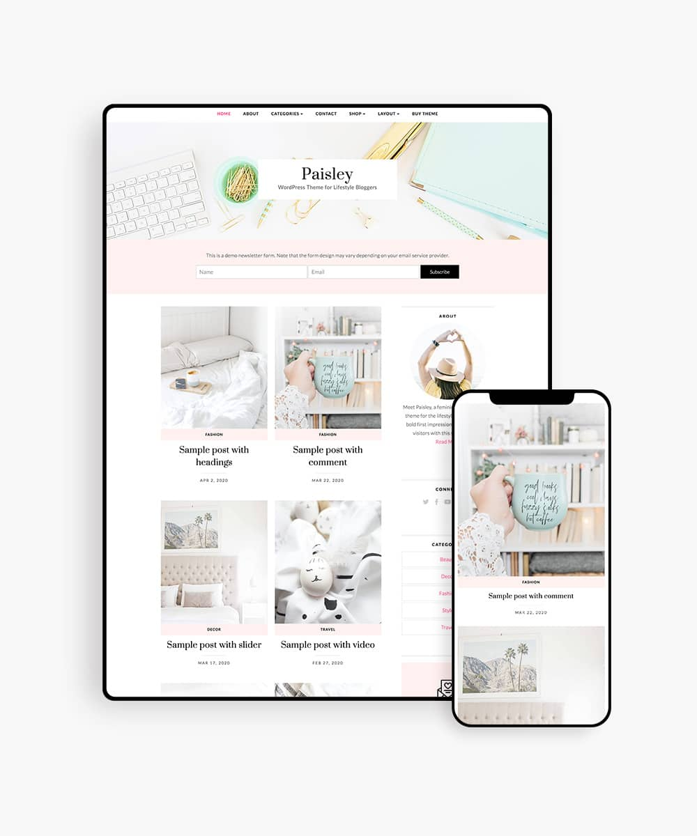 Paisley wordpress theme for female bloggers