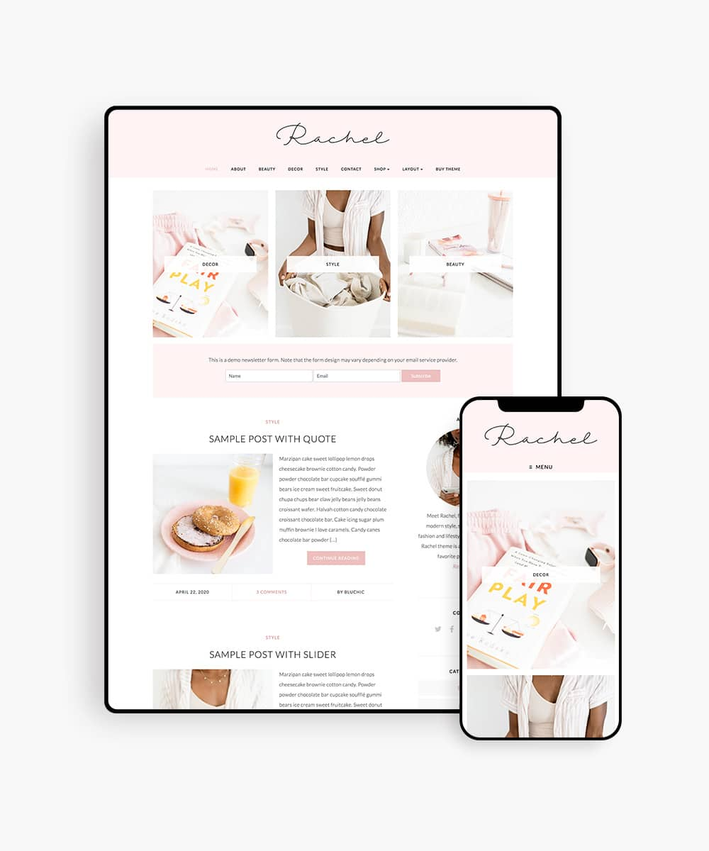 Chic WordPress Theme for lifestyle bloggers, Rachel
