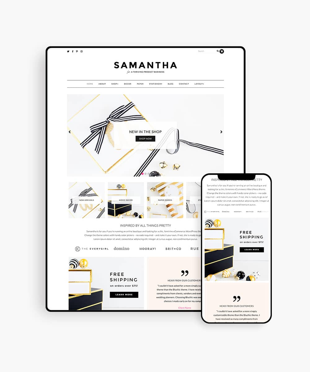 WordPress Theme for Online Shop, Samantha