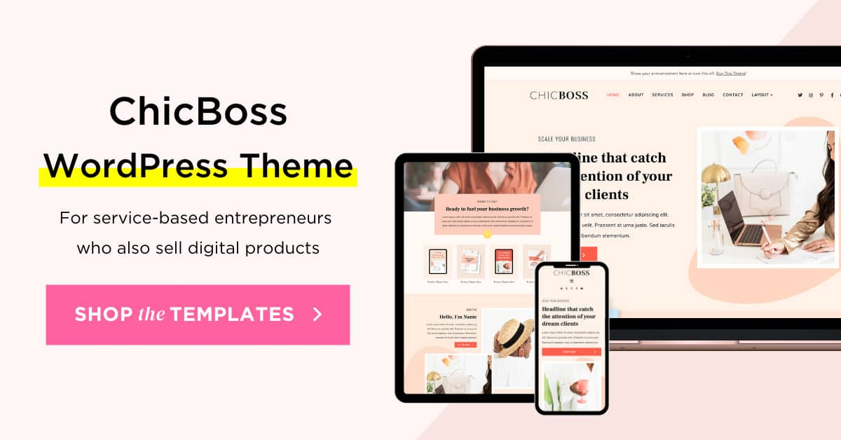 ChicBoss Elementor WordPress theme for digital product business owners