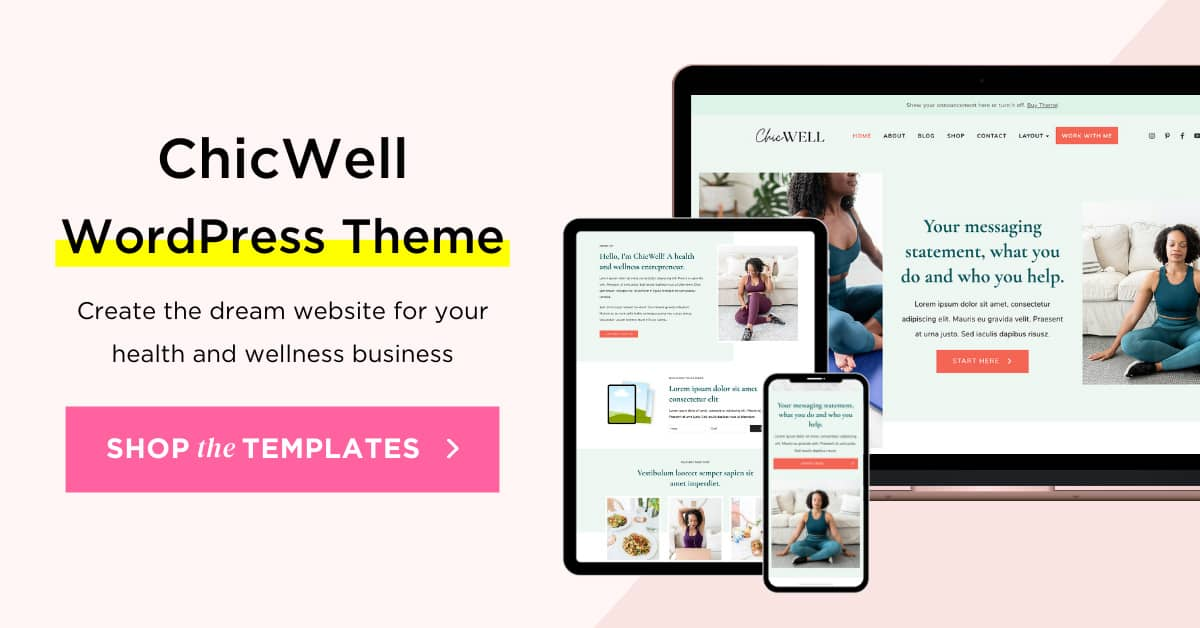 ChicWell Elementor WordPress Themes for health and wellness brand