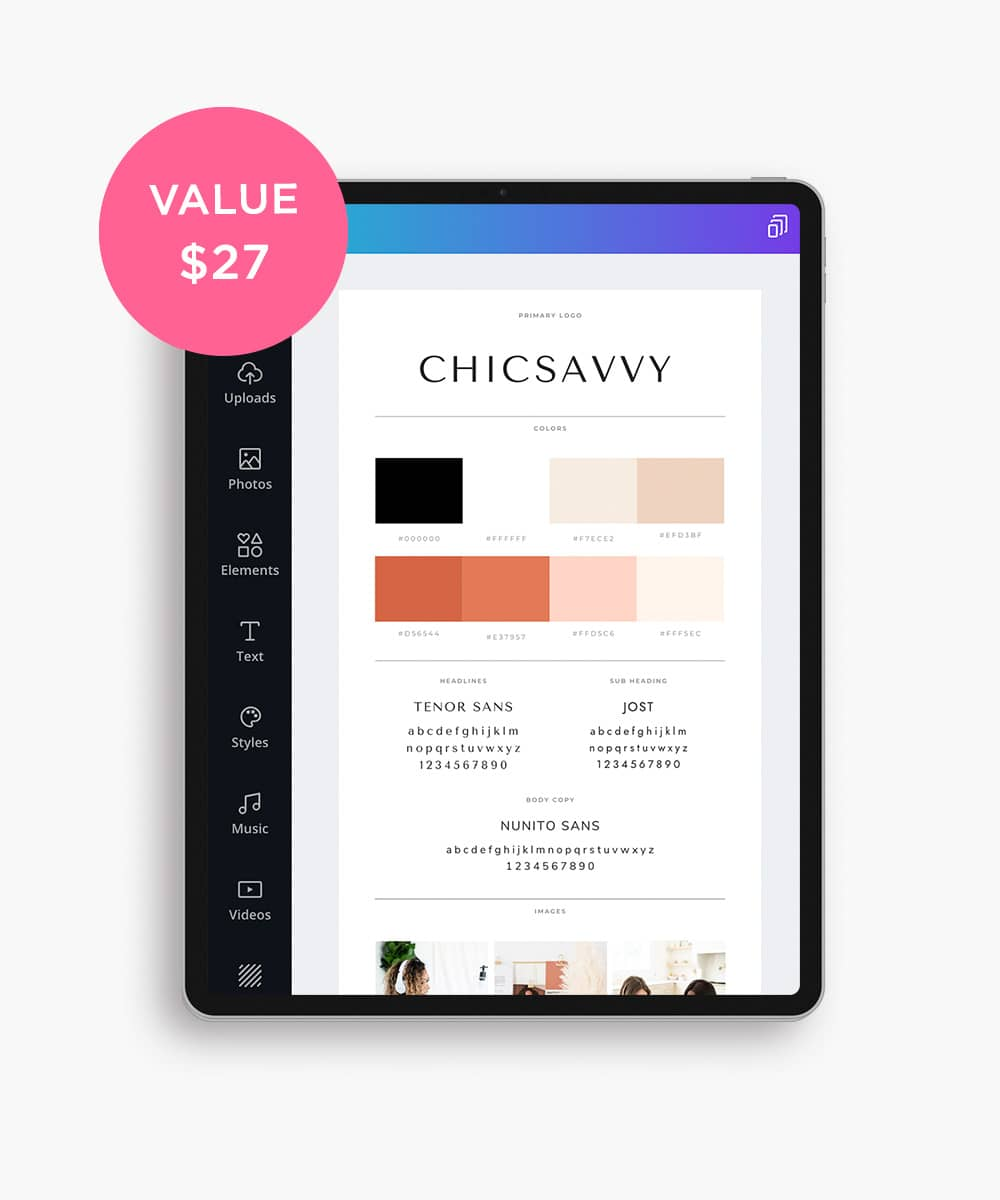 ChicSavvy brand style guide canva template