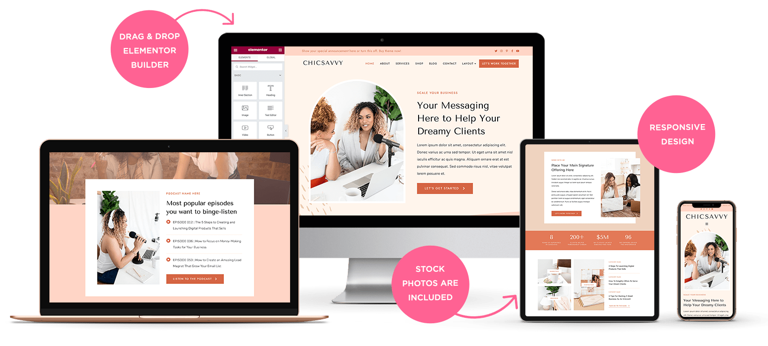 Responsive layout of ChicSavvy WordPress theme for female coaches
