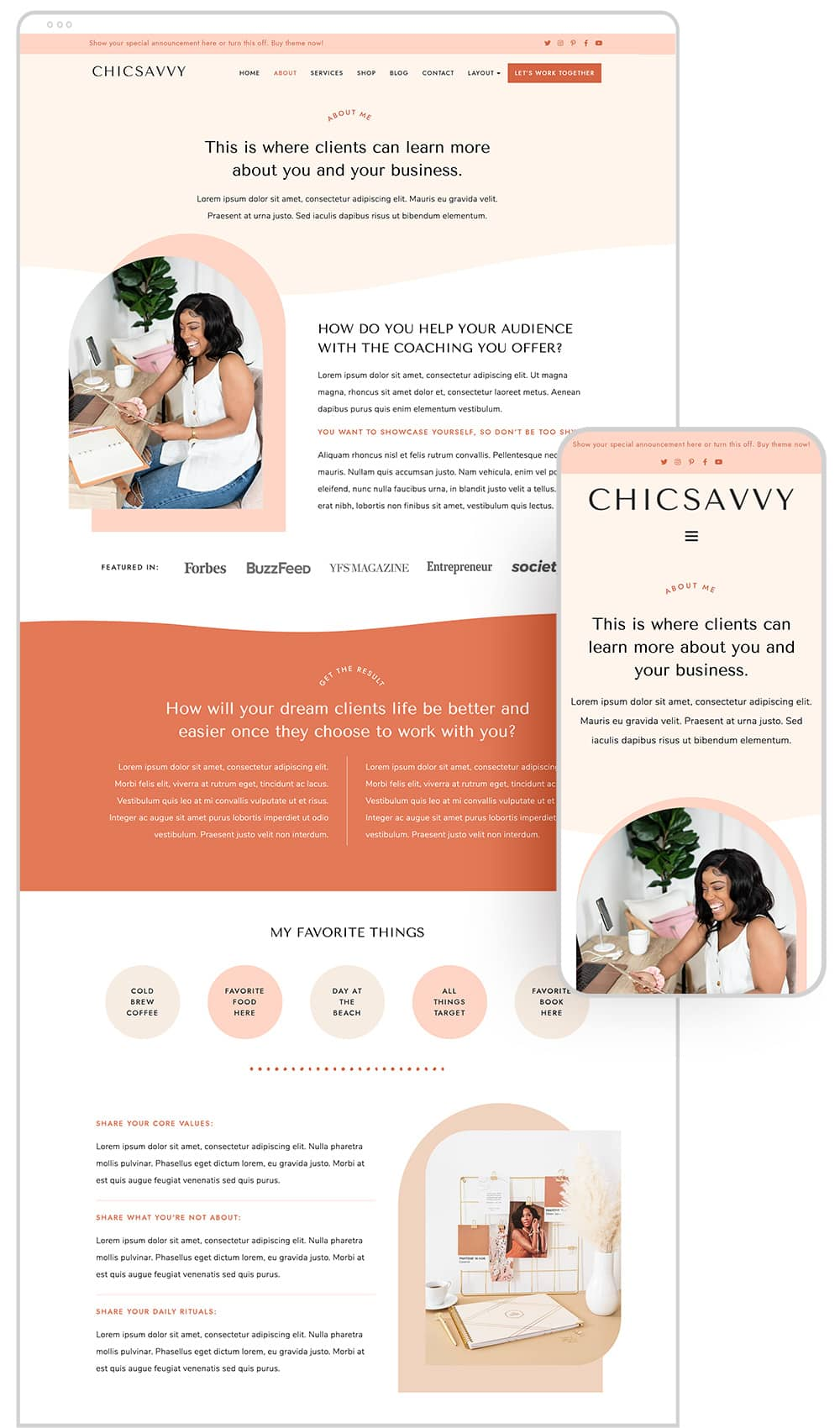 About page design of ChicSavvy WordPress theme for female coaches