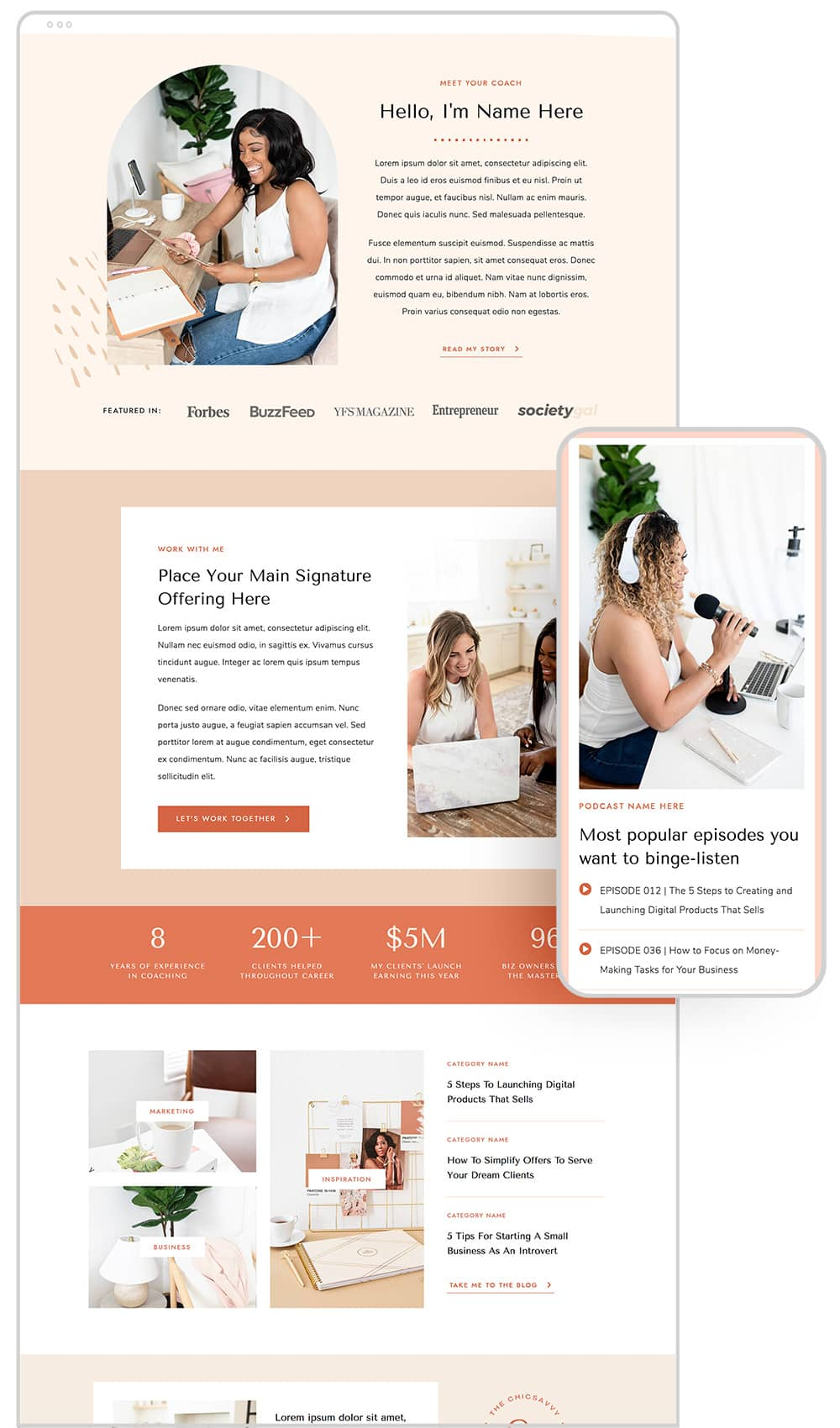 Home page design of ChicSavvy WordPress theme for female coaches