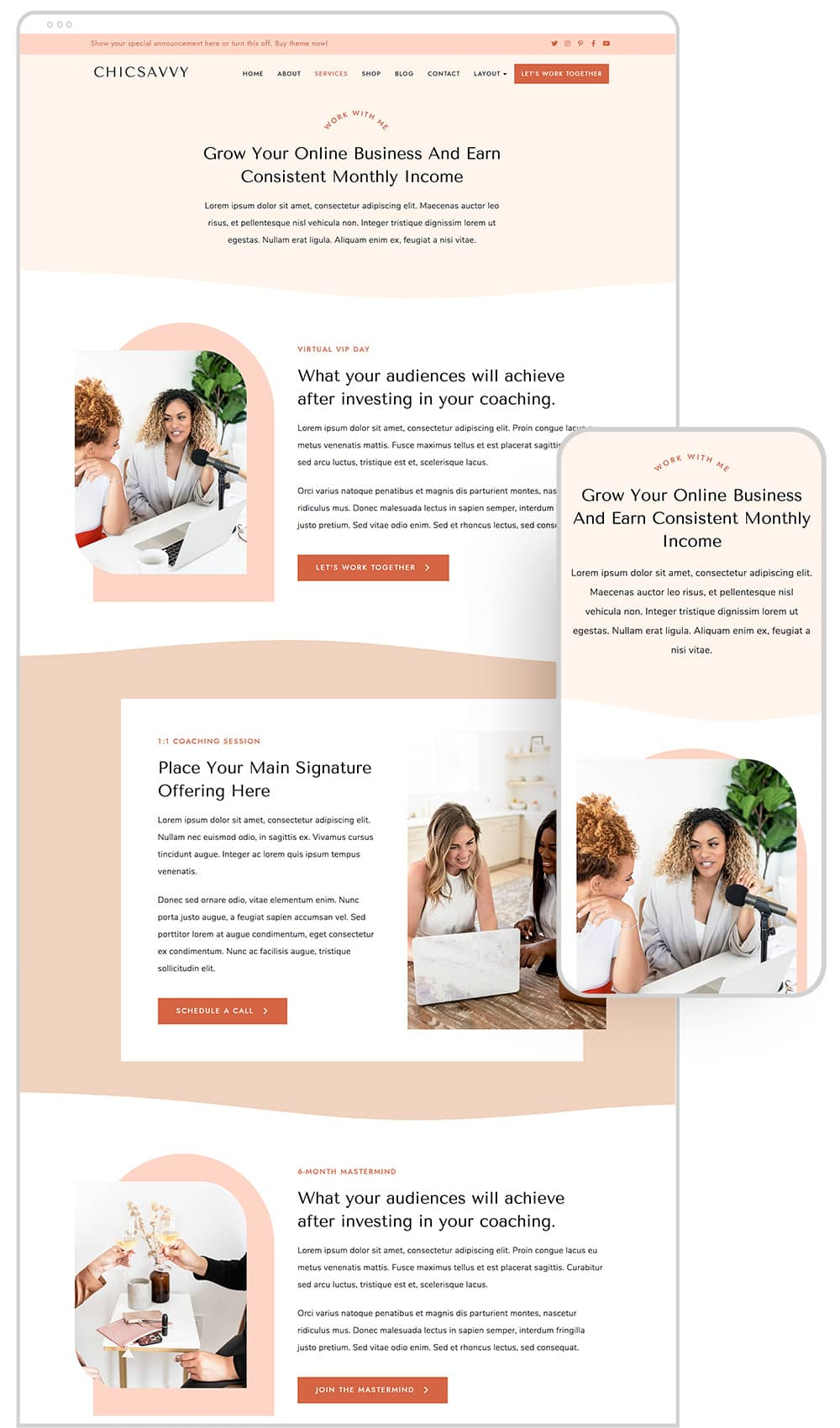 Services page design of ChicSavvy WordPress theme for female coaches